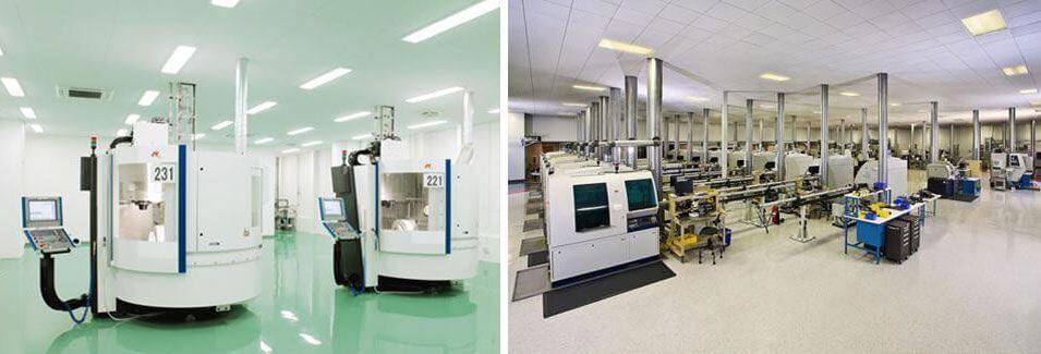 Instalaciones y laboratorios de la empresa Nobel. Realizan la fabricación de los implantes dentales que utilizamos en la clínica dental Padrós en Barcelona