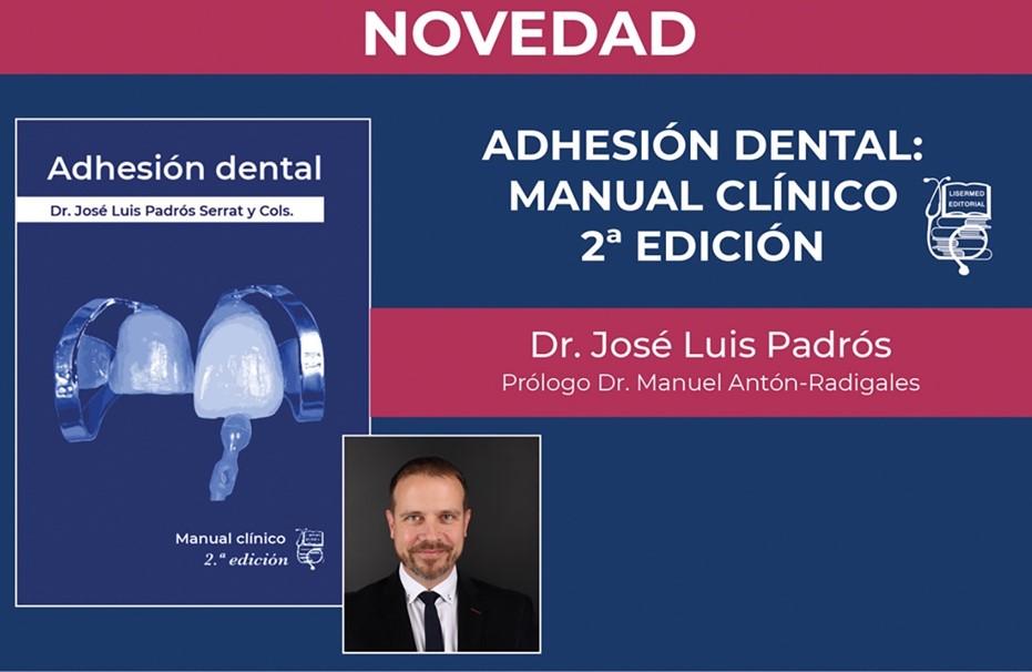 """portada del libro Adhesión dental, pautas de actuación clínica"""" Publicación del libro por Ed. Ediciones Especializadas Europeas 2009"""